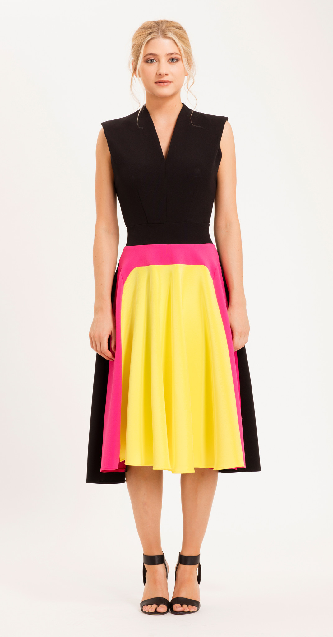 best value los angeles online here Eden Row Venice Dress Yellow/HotPink/Black — Milla Boutique