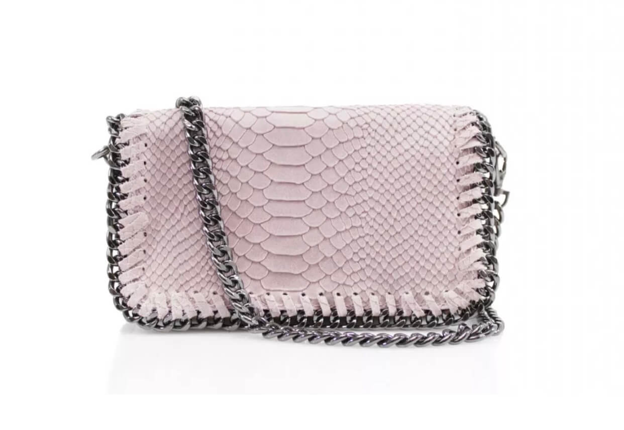 Leather snakeskin chain clutch bag in pale pink