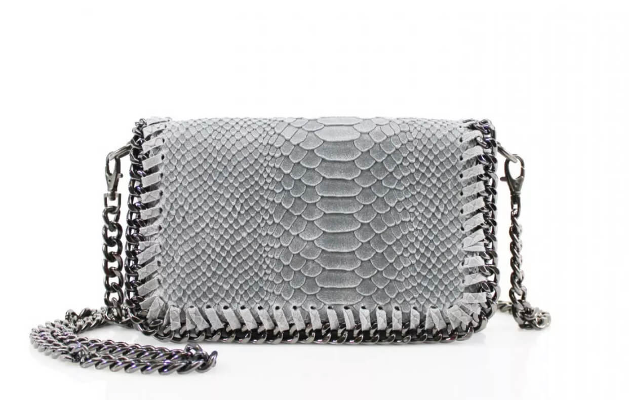 Leather snakeskin chain clutch bag in grey