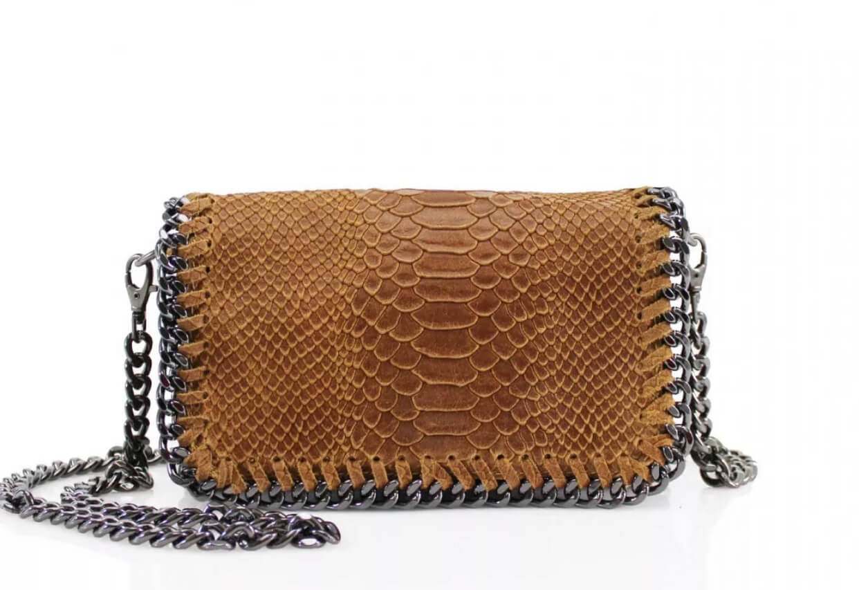 Leather snakeskin chain clutch bag in tan